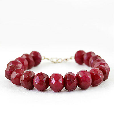 RARE 113.50 CTS EARTH MINED ROUND SHAPE GENUINE RICH RED RUBY BEADS BRACELET