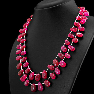 Amazing 372.00 Cts Earth Mined Rich Red Ruby 2 Strand Pear Shape Beads Necklace