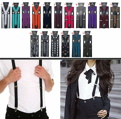 Men's Ladies Braces 25mm Wide Strong Metal Clip Adjustable Elastic Suspenders