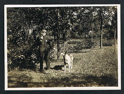 FOTO vintage PHOTO, Mann mit Hund, man with dog, homme avec un chien, /133