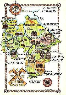 Vintage Germany Map Picture Map of Lower Saxony Germany Pictorial Map Fra 4475