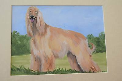 ORIGINAL PAINTING UNFRAMED ART Afghan Hound dog painting MATTED