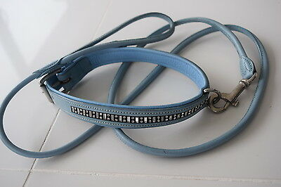 POWDER BLUE LEATHER DOG COLLAR & LEAD SET WITH CRYSTALS LEAD ROLLED NEW L to XL