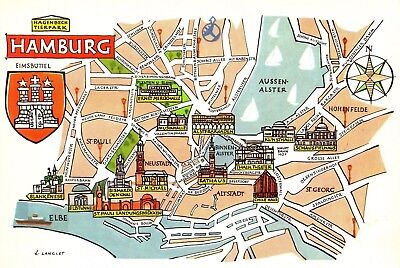 Vintage Germany Map Picture Map of Hamburg Germany Pictorial Map Fra 4476