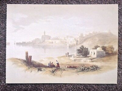 David Roberts POSTCARD Rare Vintage 1994 Egypt Art View Of Sidon From The North
