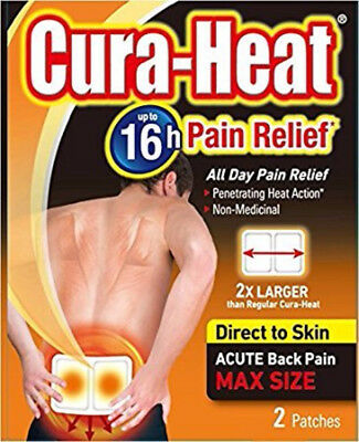 Cura-Heat Back Pain MAX Size Apply Direct to Skin - 2 Heat Pads