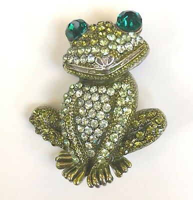 New Frog Pin Swarovski Crystal Jeweled Happy Smile Green Toad By Rucinni Brooch