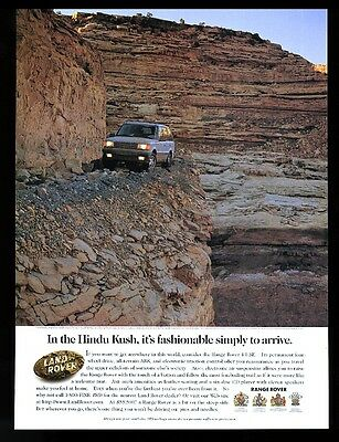 1997 Range Rover SUV on scary road in Hindu Kush photo vintage print ad