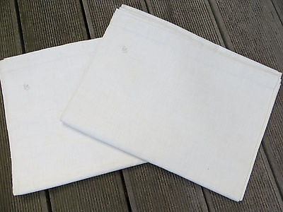 "Unused  Pair ( 2)   White of Cream  Linen Sheets Linen Monogram GS 58 "" by 87"""