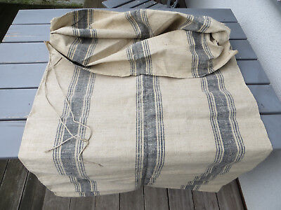 "Unused Antique Grain Feed Sack Deep Blue Stripes Handwoven Linen 52 "" Long"