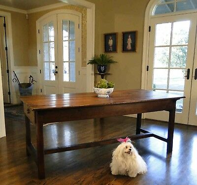 Antique French Country Farm Dining Table ~ Authentic  Provence  2 Drawers Patina
