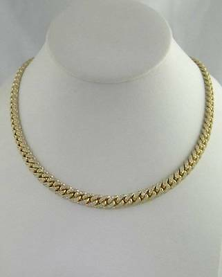 """18K YELLOW GOLD 6.00ct ROUND DIAMOND VS2 SI1 CUBAN LINK NECKLACE CHAIN 73.1g 17"""""""