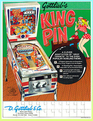 KING PIN 1973  Gottlieb Pinball Advertising  Flyer