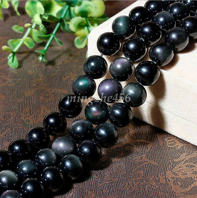 Wholesle Smooth Natural Obsidian Round Shape Gemstone Loose Beads Strand 4-12mm