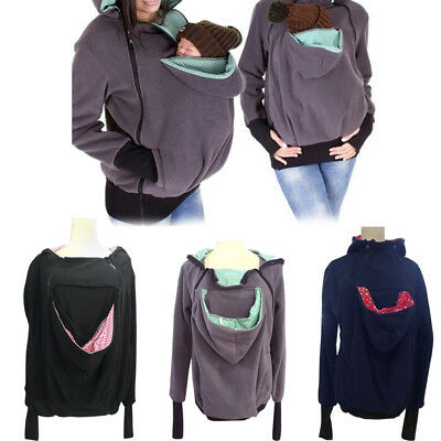 For Maternity Mom Womens Baby Carrier Hoodie Jumper Casual Kangaroo Coat Jacket