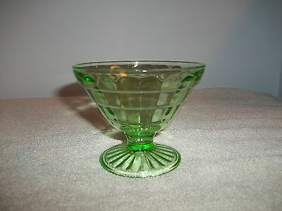 Vintage - Vaseline Glass - Block Optic Pattern - Sherbert Dish