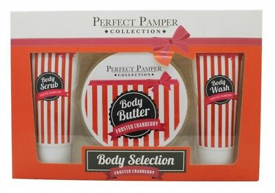 Perfect Pamper Frosted Cranberry Gift Set 100Ml Body Scrub + 220Ml Body Butter +