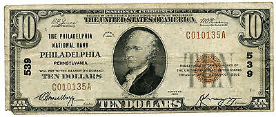 1929 $10 National Currency Note Ch 539 Philadelphia Pennsylvania Bank - KY290