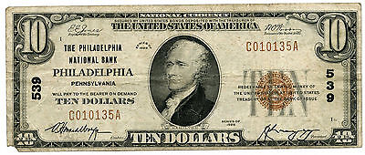 1929 $10 National Currency Note Ch 539 - Philadelphia Pennsylvania Bank - KY290