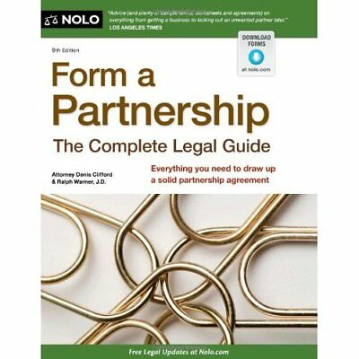 Form a Partnership: The Complete Legal Guide - Paperback NEW Denis Clifford 2012
