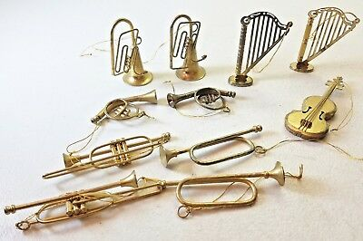 Lot of 11 Vintage Brass Metal Music Instruments Christmas Ornaments