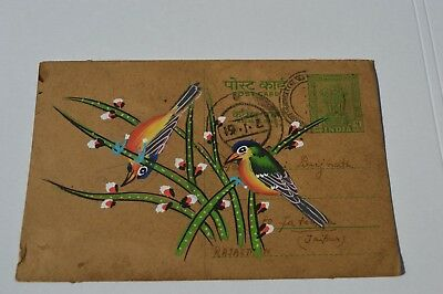 A Lovely Old Rajasthan Miniature Painted Indian Postcard Of Two Birds  96