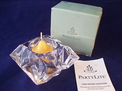PartyLite Quad Prism Lead Crystal Candle Holder NIB Candle Included Germany Ret