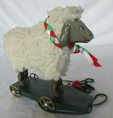Folk Art Sheep on Wheels - Working Toy for Display - 1990s