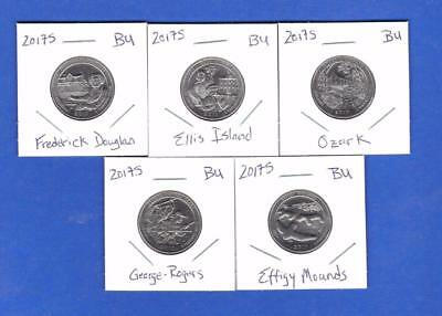 2017 S MINT BU UNCIRCULATED Quarters-  NOT PROOF -  S MINT BU- Five Coins