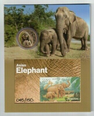 1994 Australia Asian Elephants SG 1483 imperf. MS no. 110 of 150 with $1 coin