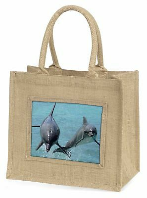 Jumping Dolphins Large Natural Jute Shopping Bag Christmas Gift Idea, AF-D6BLN