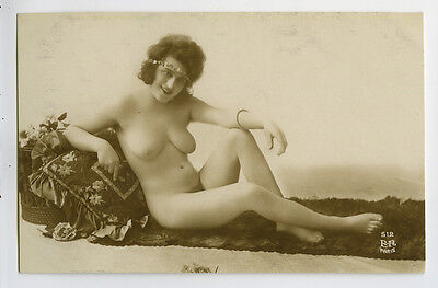 c 1920 French Reclined PRETTY NUDE LADY sexy risque deco photo postcard