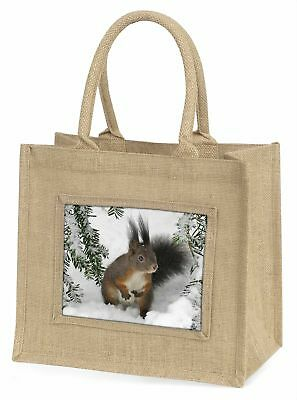 Forest Snow Squirrel Large Natural Jute Shopping Bag Christmas Gift Ide, AS-4BLN