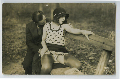 1920s French Risque not Nude FLAPPER ROMANCE in the Park photo postcard