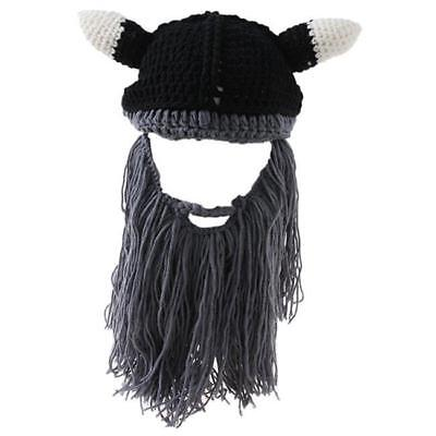 Viking Wizard Mask Ski Cap Crochet Knit Hat W/ Bearded Winter Black Hat Tassel D