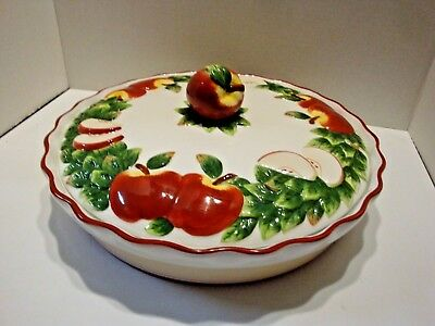 "BAUM BROTHERS STYLE EYES LARGE COVERED APPLE PIE DISH 12 1/4"" Diameter 3"" Deep"