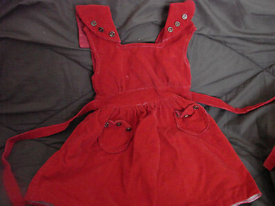 Vintage 60s Girls Childs Dress Jumper RED CORDUROY Cotton 7