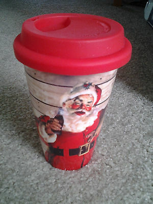 COCA COLA SANTA 12 ounce CERAMIC TRAVEL CUP with rubber LID by CR GIBSON mint!!!