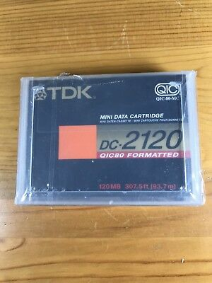 TDK Mini Data Cartridge DC-2120 New Sealed QIC80 Formatted 120MB 307.5' Cassette