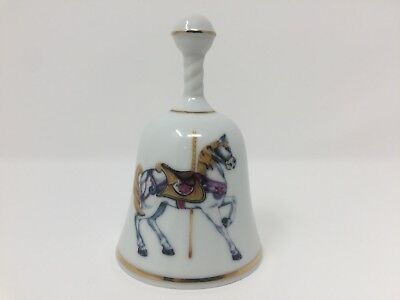 BEL-TERR Porcelain Bell Carousel Horse Lion Decorative Collectible China USA