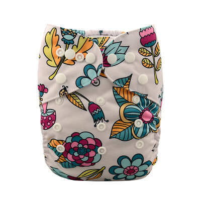 ALVABABY Cloth Diaper One Size Reusable Pocket Diaper With 1Insert For Girls