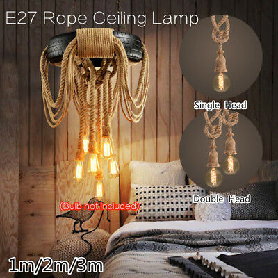E27 Industrial Pendant Lamp Retro Vintage Edison Hemp Rope Ceiling Light Fixture