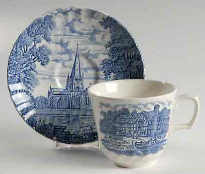 Ridgway SHAKESPEARES COUNTRY BLUE Cup & Saucer 2639359