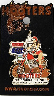 NEW! HOOTERS GIRL MOTORCYCLE SPRINGFIELD IL MEMORIAL DAY WEEKEND PIN - Route 66