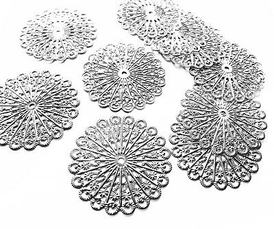 10 x Silver tone Circle Filigree Stamped Embellishments Metal Charm Decoration