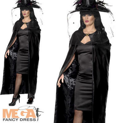 Black Deluxe Witches Cape Ladies Fancy Dress Halloween Adults Costume Cloak New