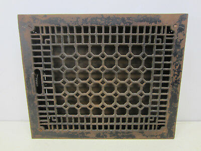 Vintage Cast Iron Honeycomb Style Floor Grate w/Damper   ASG#27