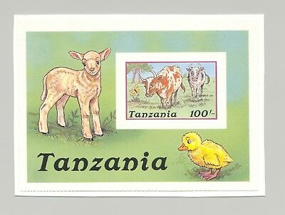 Tanzania 1988 Cow 1v S/S Imperf Proof on Card