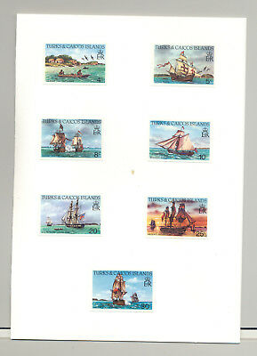 Turks & Caicos #578-592 Canoes, Sailing Ships 15v Imperf Proofs in Folder
