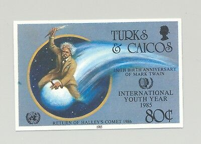 Turks & Caicos #671 Youth Year, UN, Halley's Comet 1v Imperf Proof